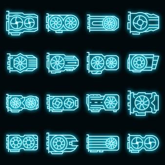 Zestaw ikon karty graficznej wektor neon