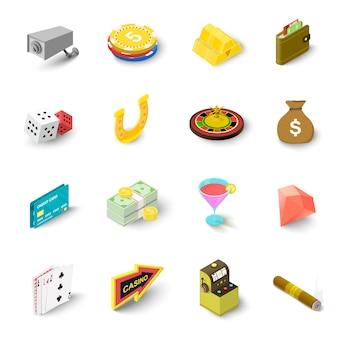 Zestaw ikon kasyna. izometryczna ilustracja 16 kasynowych wektorowych ikon dla sieci