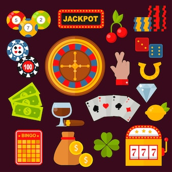 Zestaw ikon kasyna z automatem do gry w ruletkę joker