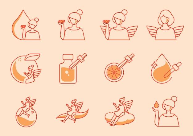 Zestaw ikon kątowych z pomarańczową witaminą c.