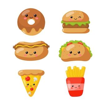 Zestaw ikon kawaii ładny zabawny styl fast food na białym tle.