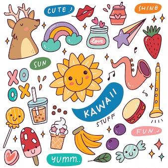 Zestaw ikon kawaii
