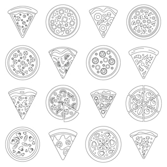 Zestaw ikon kawałek pizzy