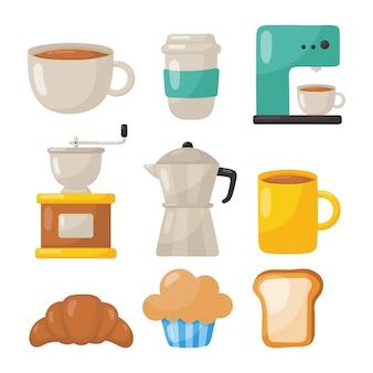 Zestaw ikon kawiarni na białym tle