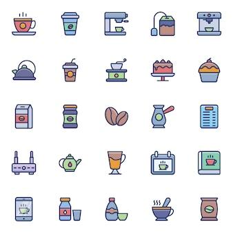 Zestaw ikon kawy i herbaty