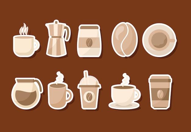 Zestaw ikon kawy napój kofeina śniadanie i motyw napojów.