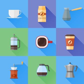 Zestaw ikon kawy płaski z długim cieniem.