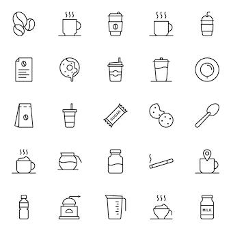 Zestaw ikon kawy, z ikoną stylu konspektu