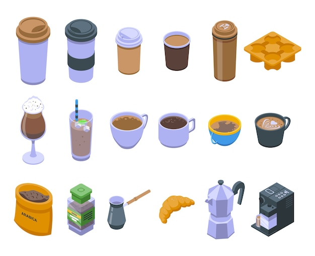 Zestaw ikon kawy.