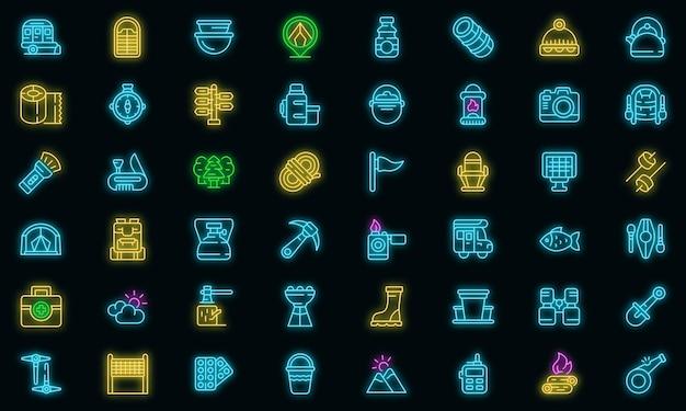 Zestaw ikon kempingu wektor neon