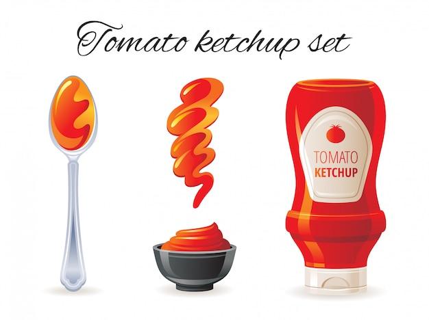 Zestaw ikon ketchupu pomidorowego z butelką sosu, miska, łyżka, splash.