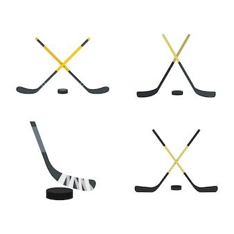 Zestaw ikon kij hokejowy. płaski zestaw kolekcja ikon kija hokejowego na białym tle