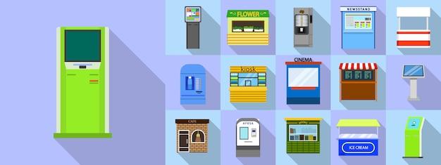 Zestaw ikon kiosku, płaski