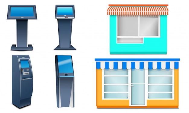 Zestaw ikon kiosku. realistyczny zestaw ikon wektorowych kiosku na białym tle