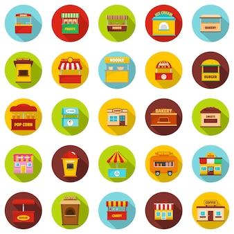 Zestaw ikon kiosku ulicznego. płaska ilustracja ulicznego jedzenia kioska ikon wektorowy okrąg odizolowywający na bielu