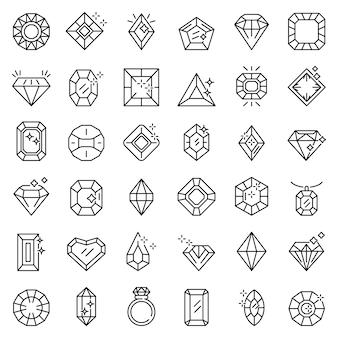 Zestaw ikon klejnot, styl konturu
