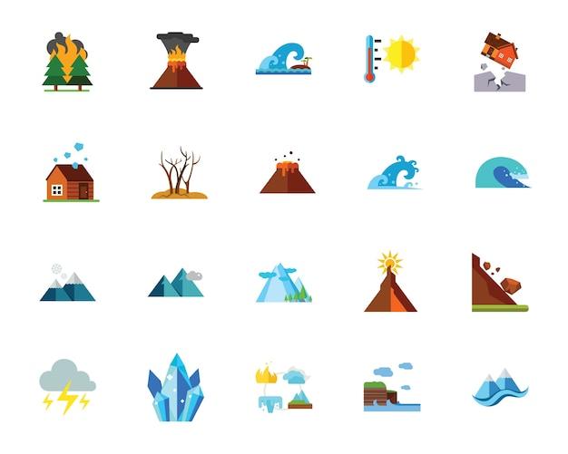 Zestaw ikon klęski żywiołowej