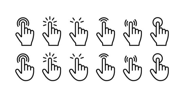 Zestaw ikon kliknięcia palcem wskazującym. styl linii.