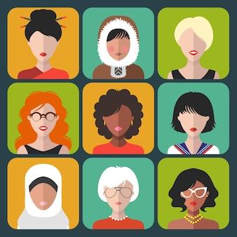 Zestaw ikon kobieta różnej narodowości w stylu płaski.