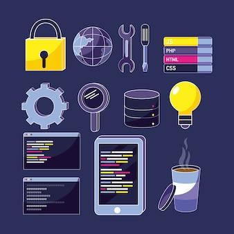 Zestaw ikon kodów programów