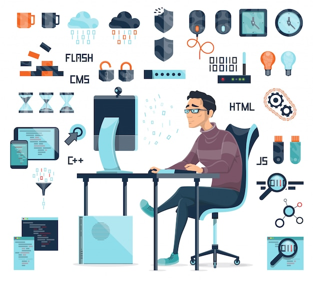 Zestaw ikon kodowania komputera