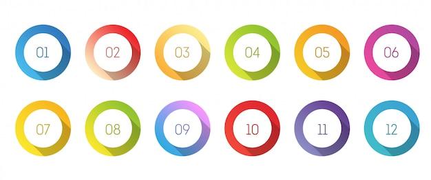 Zestaw ikon koła 3d z numerem punkt od 1 do 12.