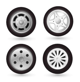 Zestaw ikon koła samochodu