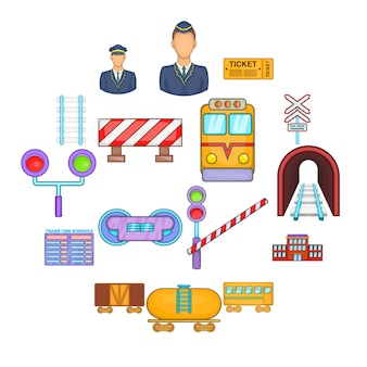Zestaw ikon kolejowych, stylu cartoon