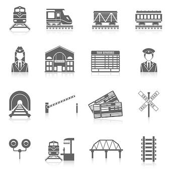 Zestaw ikon kolejowych