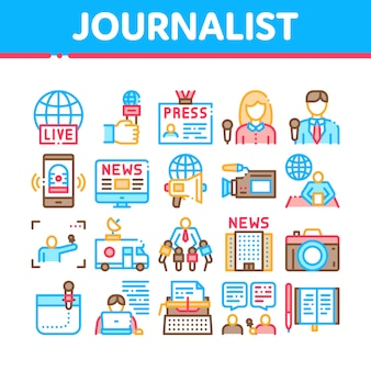 Zestaw ikon kolekcja dziennikarz reporter