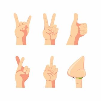 Zestaw ikon kolekcja gest ręki