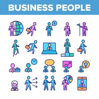 Zestaw ikon kolekcja lider biznesu ludzi