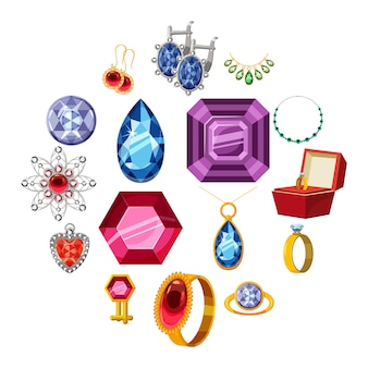 Zestaw ikon kolekcji biżuterii, stylu cartoon