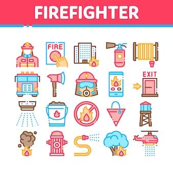 Zestaw ikon kolekcji sprzętu strażaka