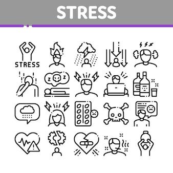 Zestaw ikon kolekcji stresu i depresji