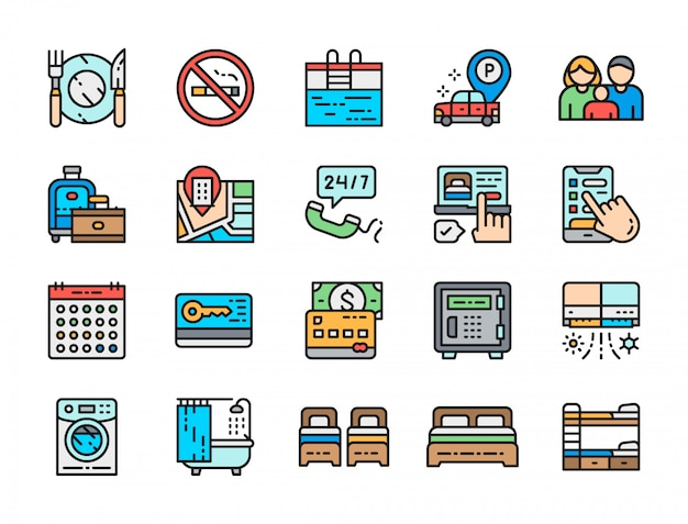 Zestaw ikon kolor linii usług hotelowych. sztućce, wanna, karta kredytowa i więcej.