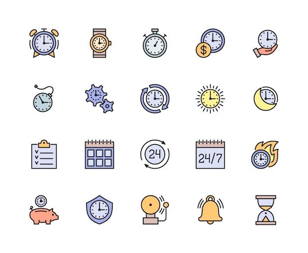 Zestaw ikon kolor linii zarządzania czasem. kalendarz, harmonogram, lista kontrolna i więcej.