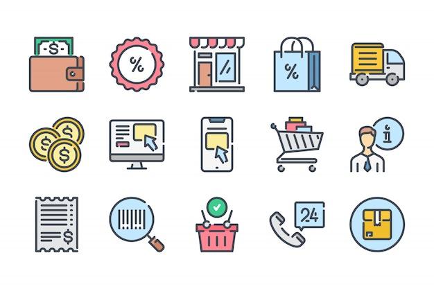 Zestaw ikon kolor linii związanych z e-commerce.