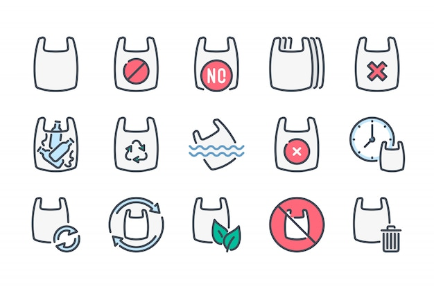 Zestaw ikon kolor linii związanych z plastikową torbą.