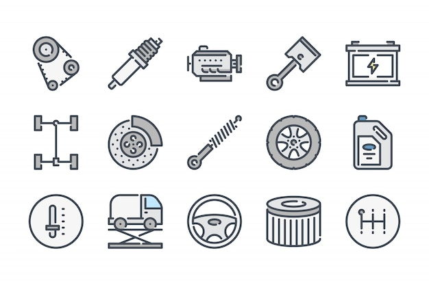 Zestaw ikon kolor linii związanych z usługami samochodowymi.