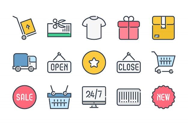 Zestaw ikon kolor linii związanych z zakupami i e-commerce.