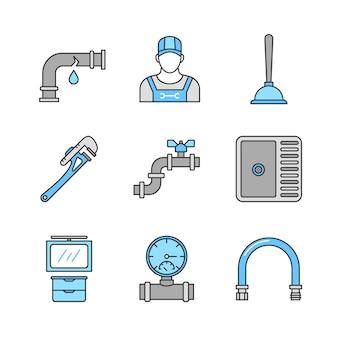 Zestaw ikon kolor sanitarny