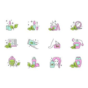 Zestaw ikon kolorów kosmetyków ekologicznych