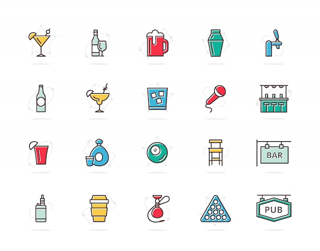 Zestaw ikon kolorowe i alkoholowe kolorowe linie kreskowe. koktajl, wino, piwo, kubek i więcej.