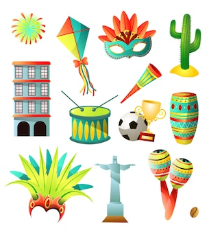 Zestaw ikon kolorowe kraju brazylia, tradycyjne obiekty narodowe