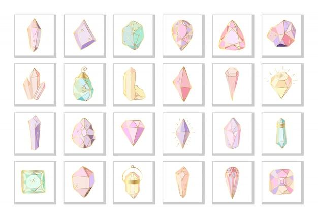 Zestaw ikon - kolorowe kryształy lub klejnoty na białym, kolekcja kamieni szlachetnych, diamentów