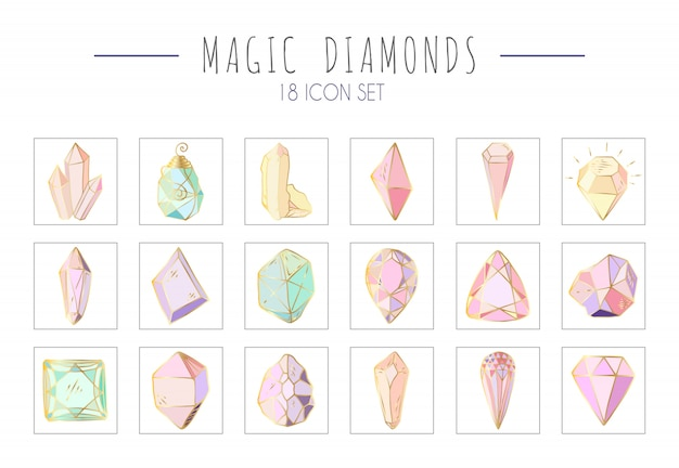 Zestaw ikon - kolorowe kryształy lub klejnoty na białym, kolekcja z kamieniami szlachetnymi, diamentami, ręcznie rysowane