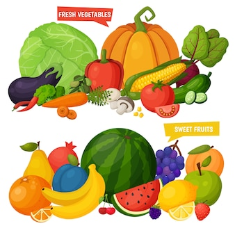 Zestaw ikon kolorowe owoce i warzywa. szablon do gotowania, menu restauracji i potraw wegetariańskich