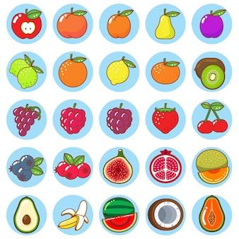 Zestaw ikon kolorowe płaskie owoce
