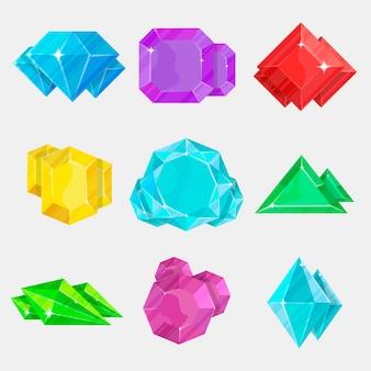 Zestaw ikon kolorowy kamień biżuteria